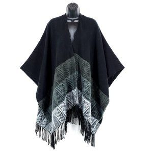 Knit Ombre Cape Shawl Fringe Chevron Chic Black